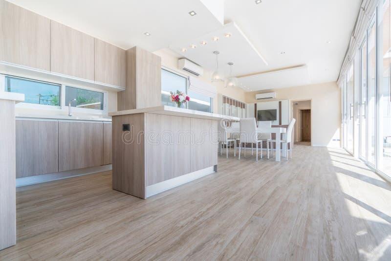 议院或住宅建设豪华室内设计在水池别墅客厅  与高被提高的天花板的通风和明亮的空间和 图库摄影