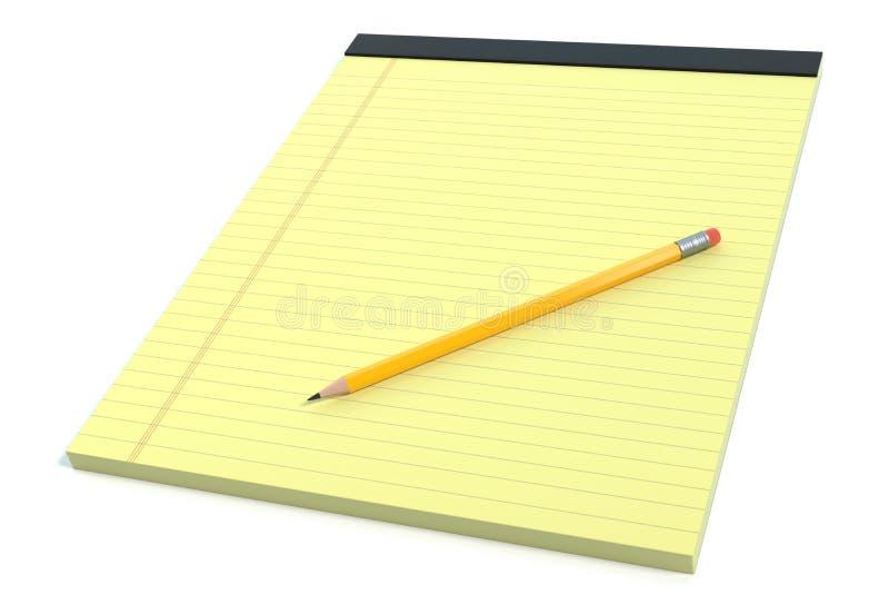 记事本和铅笔 库存例证