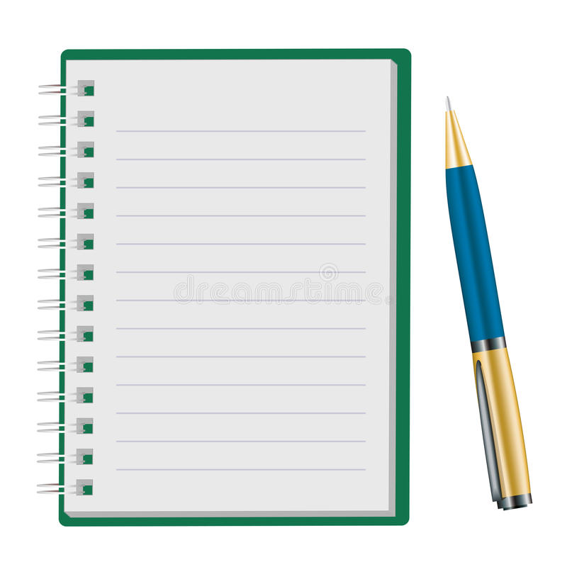 记事本被开张的笔 向量例证