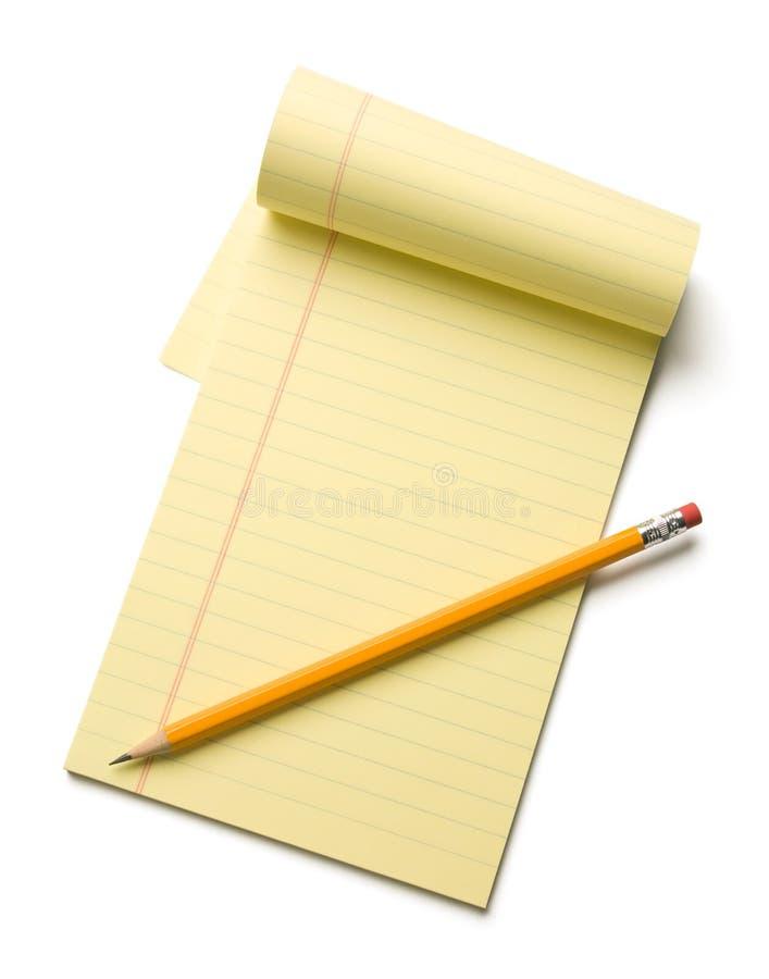 记事本铅笔 免版税库存图片