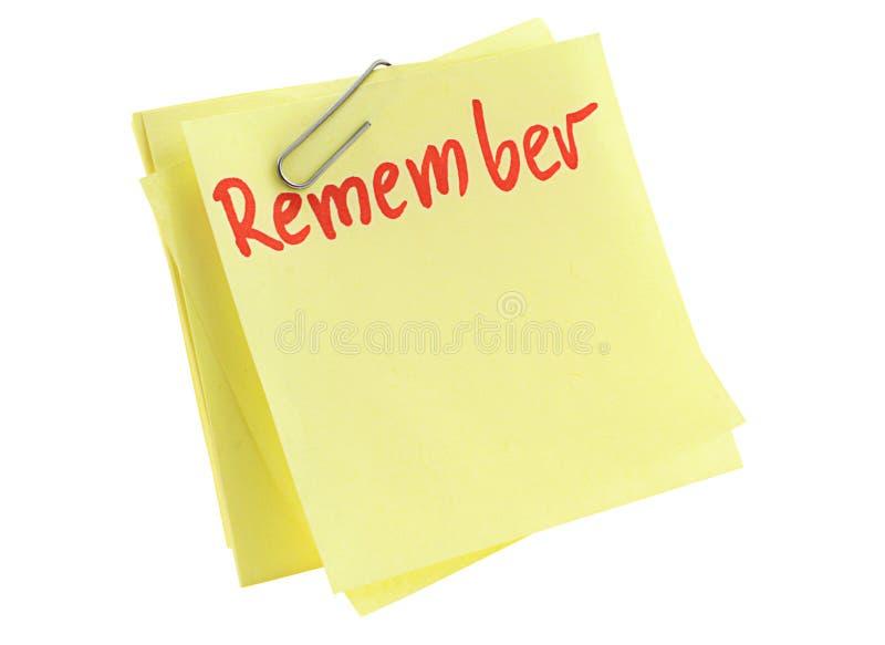 记住纸页 免版税库存图片
