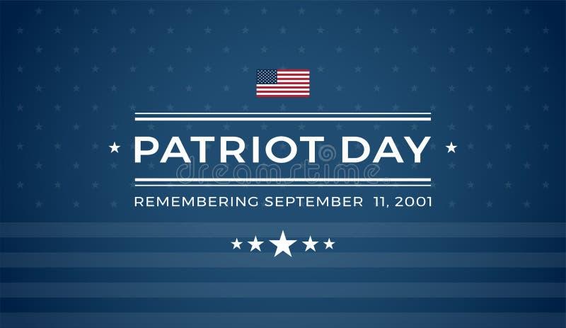 记住2001年9月11日的爱国者天9/11蓝色背景- 向量例证