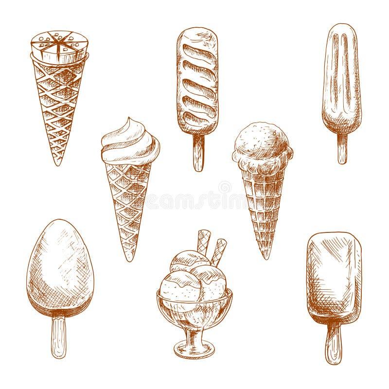 刻记剪影的冰淇凌点心 库存例证