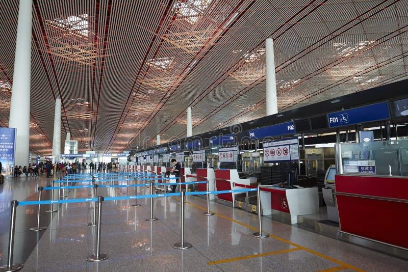 登记处柜台,北京资本国际机场 免版税库存图片