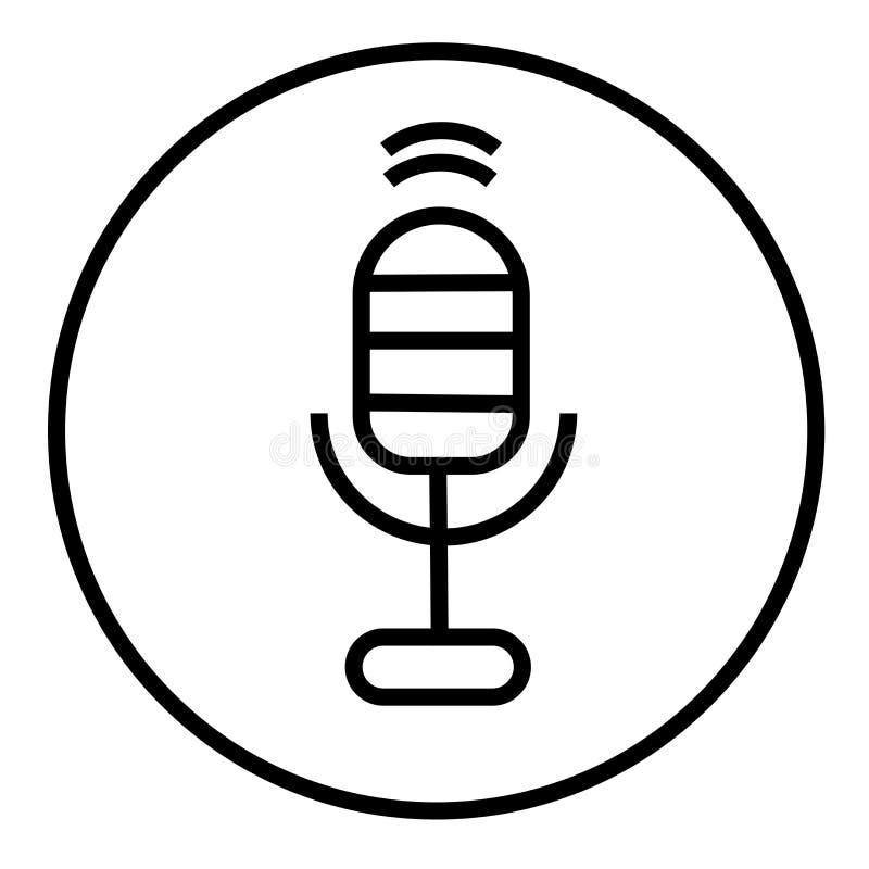 记录声音按钮象在白色背景隔绝的传染媒介标志和标志,记录声音按钮商标概念 皇族释放例证