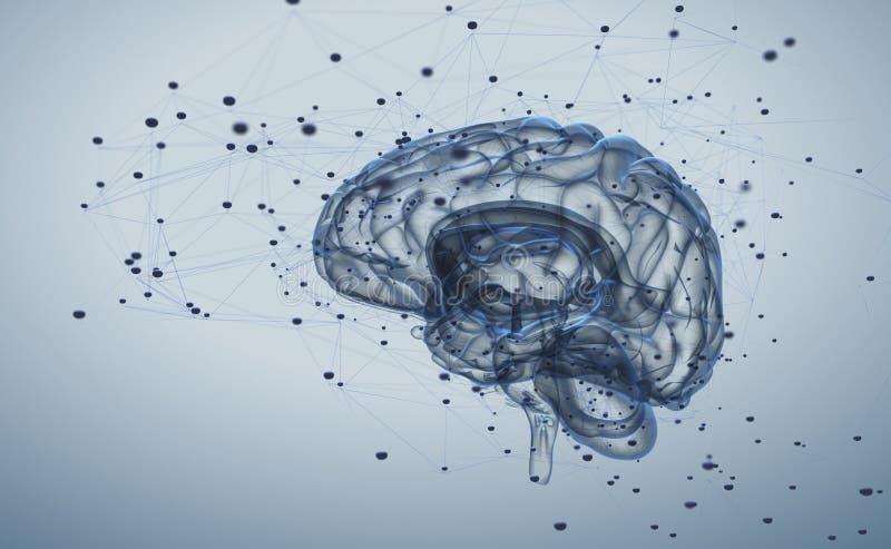 记录脑部活动 库存例证