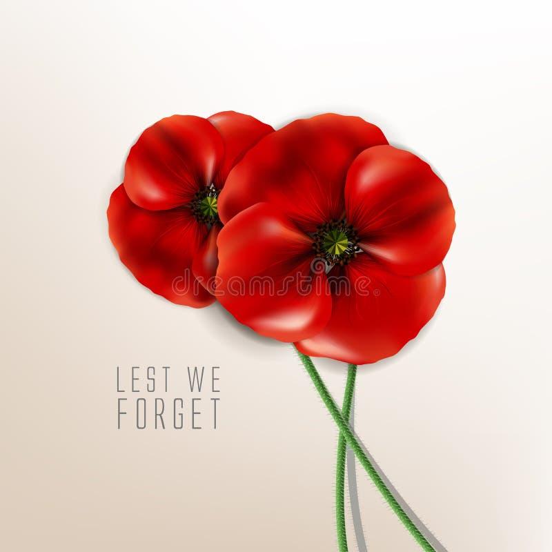 记忆天- 11月11日-,唯恐我们忘记 向量例证