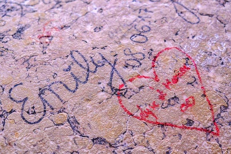 记忆标志,花岗岩表面,爱 免版税库存图片