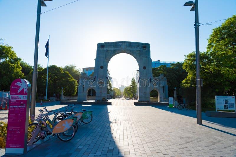 记忆桥梁在街市的克赖斯特切奇,新西兰 免版税库存图片