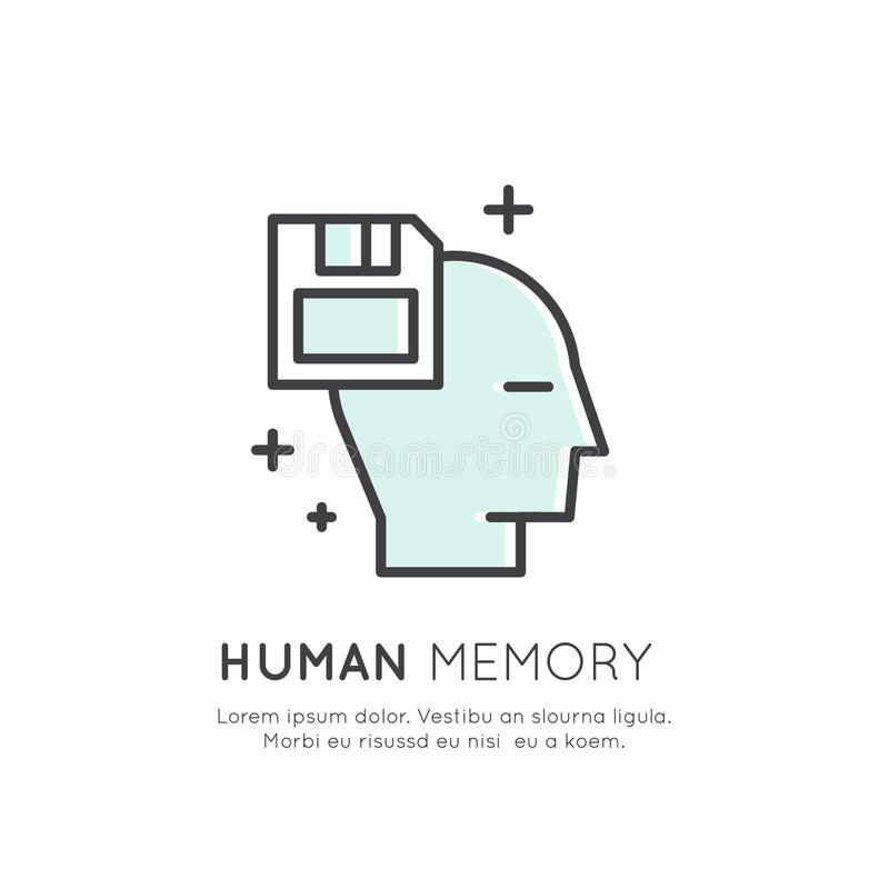 记忆,挽救,机器学习,人为技术概念的例证 向量例证