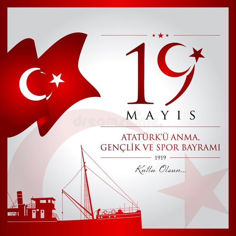 记念5月19日,阿塔图尔克、青年和体育天土耳其庆祝卡片的 库存例证