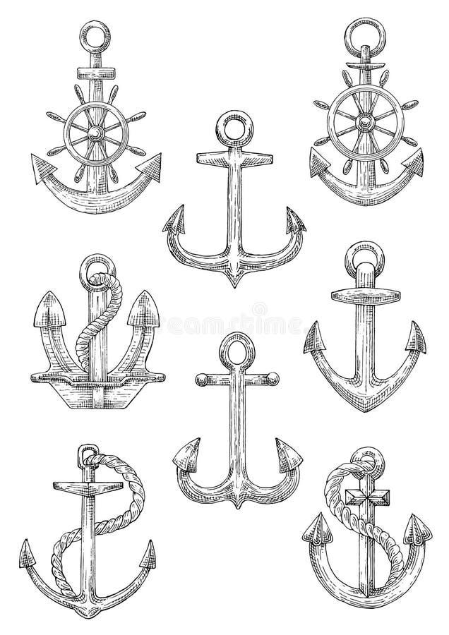 刻记有舵和绳索的速写的船锚 皇族释放例证