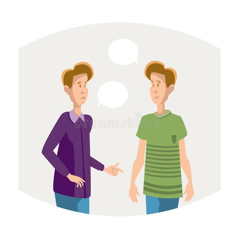 讲两名年轻男孩的学生朋友通信 向量例证