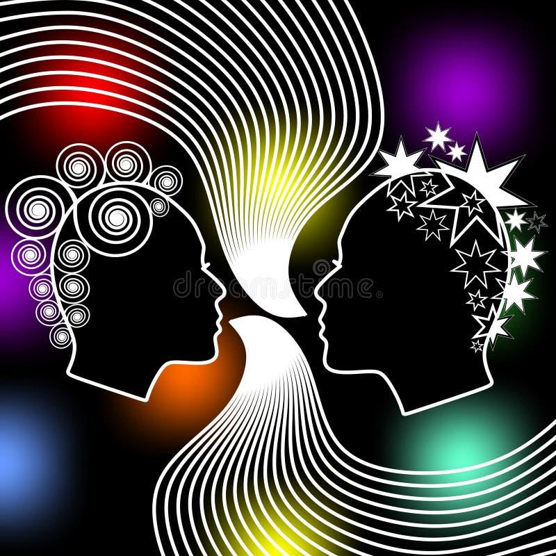 讲妇女,两女性面孔外形与在黑背景的侈奢的发型与色的bokeh点燃 向量例证