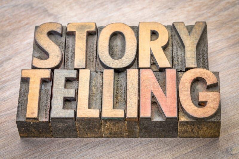 讲故事在木类型的词摘要 库存照片