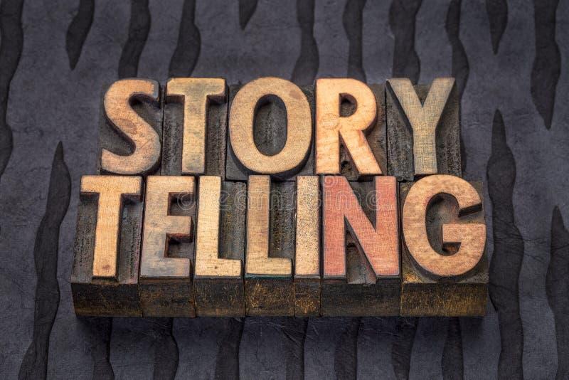 讲故事在木类型的词摘要 免版税库存照片