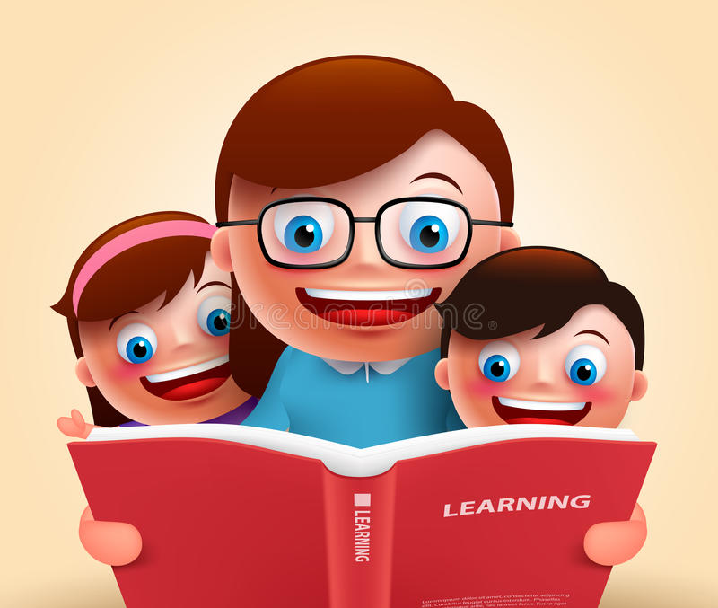 讲故事的阅读书由愉快的微笑的老师和孩子 皇族释放例证