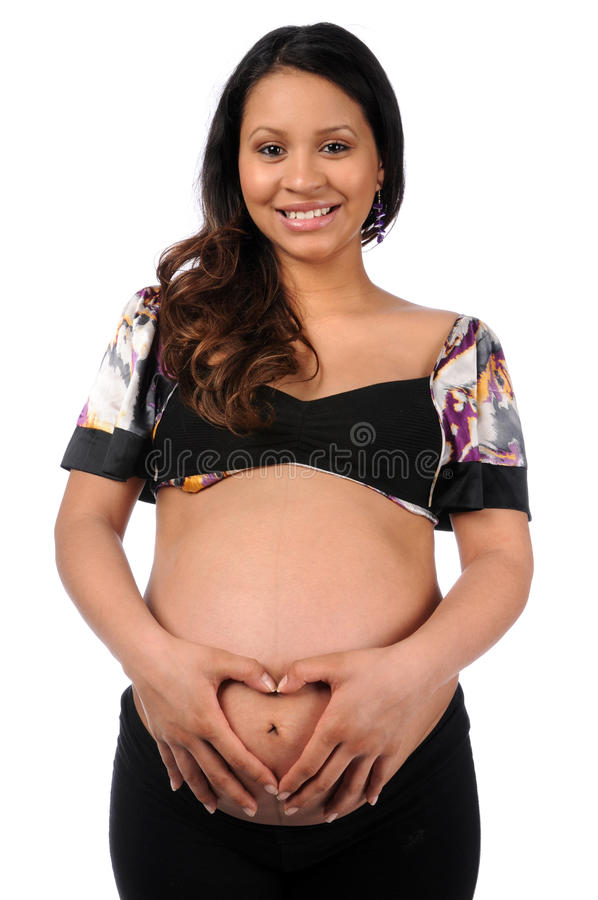 讲西班牙语的美国人孕妇 免版税图库摄影