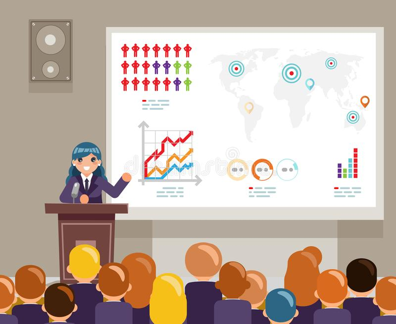 讲论坛的讲话大量观众全球性问题气候变化人群女性角色世界竞选的人 库存例证