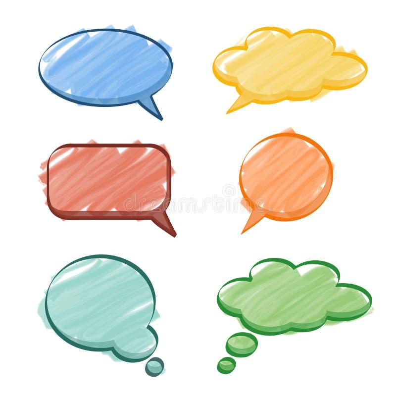 讲话想法泡影集合、标志或者水彩纹理, 向量例证