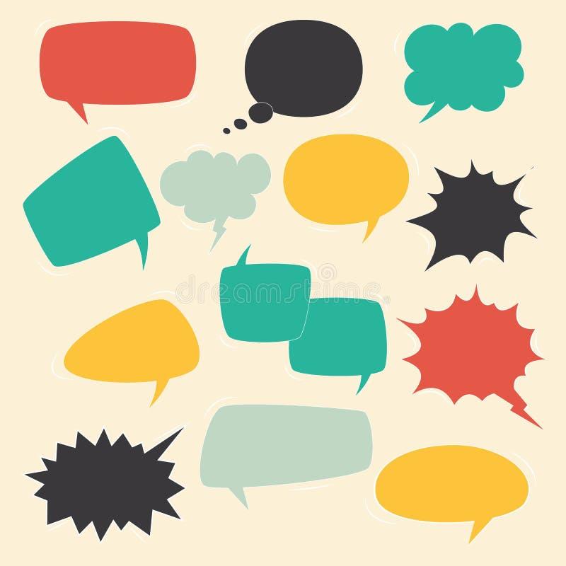 讲话框架 讲孩子起泡与讲的葡萄酒谈话可笑的云彩长圆形的集合闲谈文本传染媒介对话集合的 库存例证