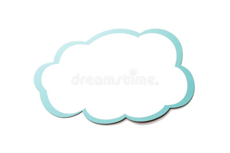 讲话泡影作为与在白色背景隔绝的蓝色边界的一朵云彩 复制空间 库存例证