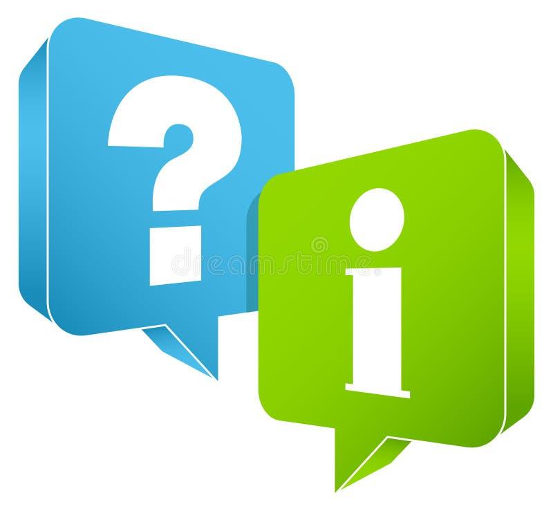讲话泡影对绿色的信息表示怀疑蓝色和里面 向量例证