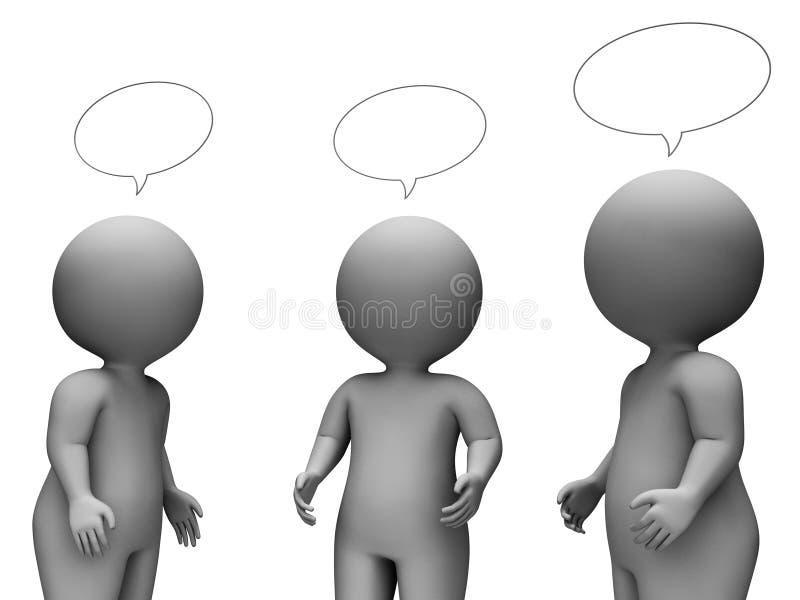 讲话泡影展示回报聊天的和讲的3d翻译 皇族释放例证