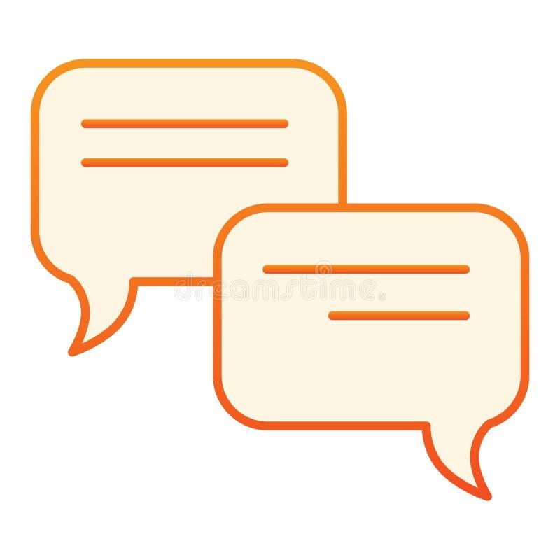 讲话泡影平的象 在时髦平的样式的通信橙色象 闲谈梯度样式设计,设计为网 库存例证