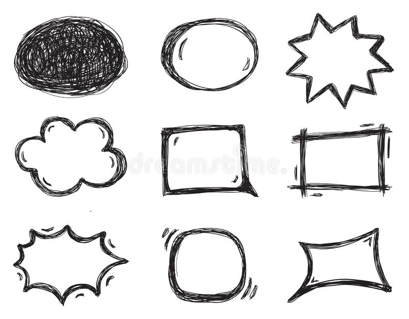 讲话泡影的传染媒介汇集在可笑的剪影样式的 库存例证