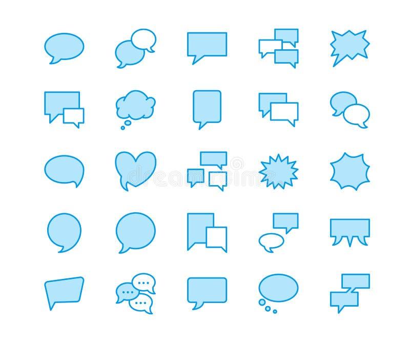 讲话泡影讲话平的线象 闲谈,评论,想法例证 通信概念的稀薄的标志 库存例证