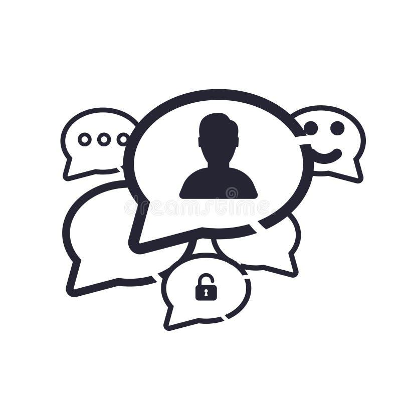 讲话泡影象在白色背景和标志隔绝的传染媒介标志,讲话泡影商标概念 皇族释放例证