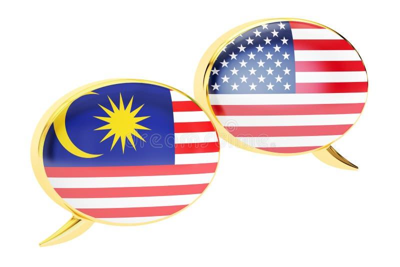 讲话泡影,马来西亚美国交谈概念 3d翻译 库存例证
