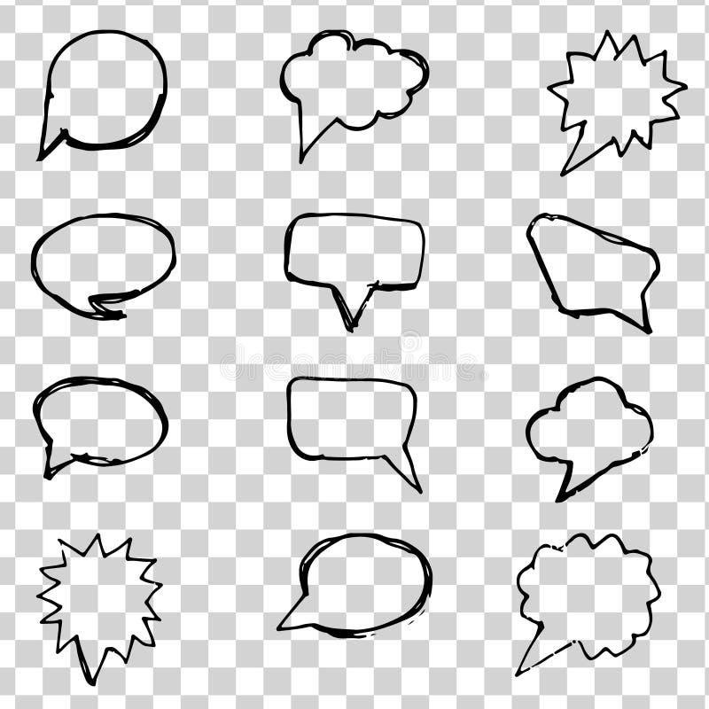讲话起泡在透明背景设置的黑线 套手拉的要素 讲话起泡象平的象 库存例证