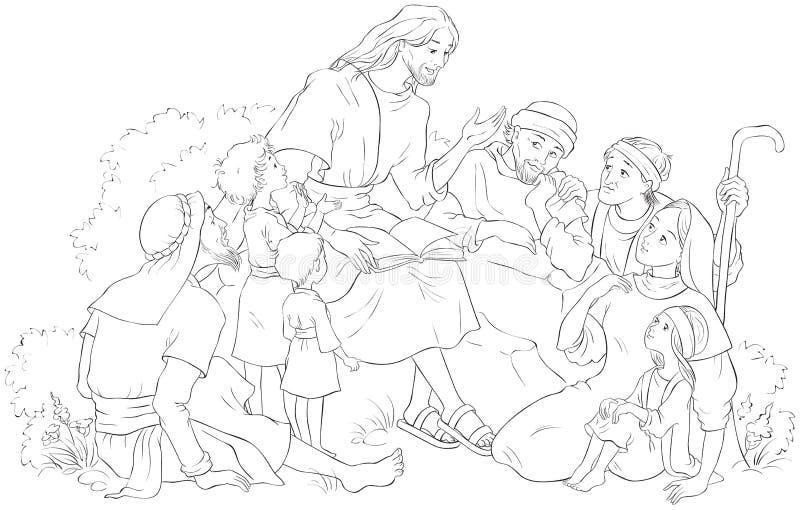 讲道对一群人的耶稣上色页 皇族释放例证