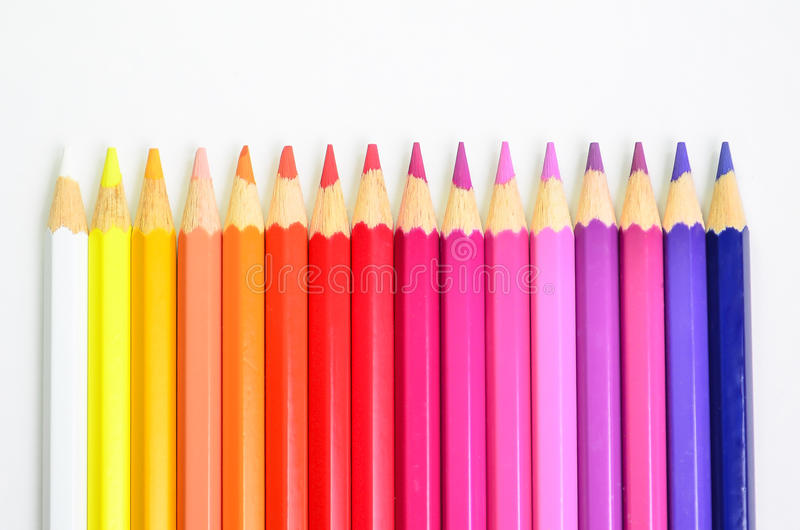 许多上色铅笔预定 免版税库存图片