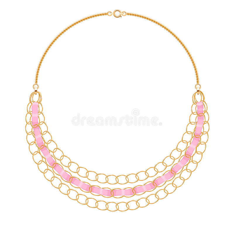 许多与桃红色丝带的链子金黄金属项链 皇族释放例证