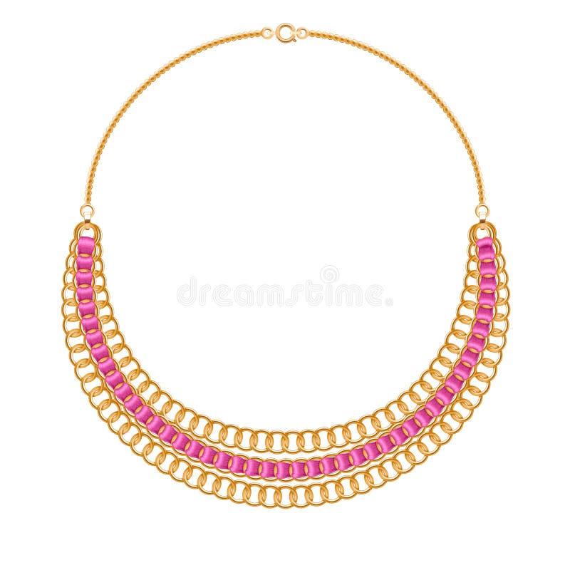 许多与桃红色丝带的链子金黄金属项链 向量例证