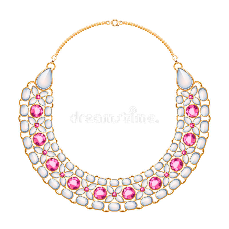 许多与珍珠和红宝石的链子金黄金属项链 向量例证