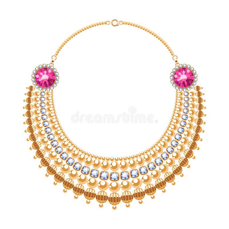 许多与金刚石和红宝石的链子金黄金属项链 皇族释放例证
