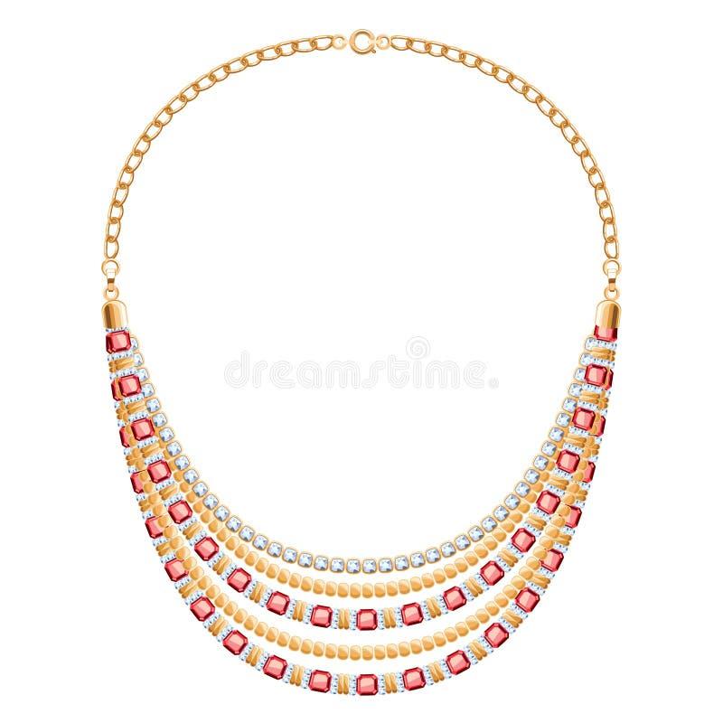 许多与金刚石的链子金黄金属项链 皇族释放例证