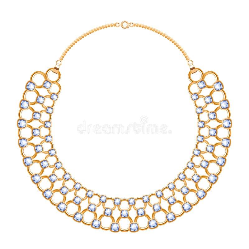 许多与金刚石的链子金黄金属项链 向量例证