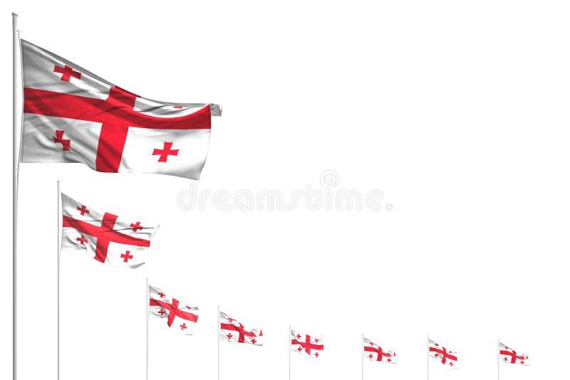 许多乔治亚旗子在与空间的白色相当安置了被隔绝的对角线内容的-所有庆祝旗子3d例证 库存例证