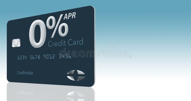 许多信用卡提议现在包括百分之零年百分率12-15个月,并且这张普通假装卡片说明 库存例证