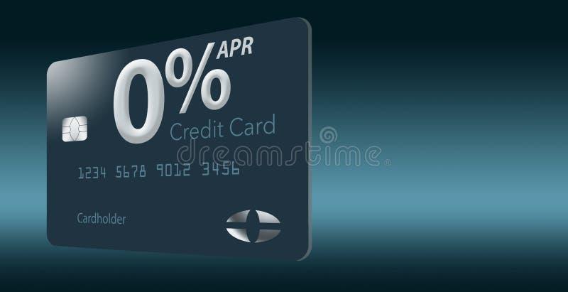 许多信用卡提议现在包括百分之零年百分率12-15个月,并且这张普通假装卡片说明 向量例证