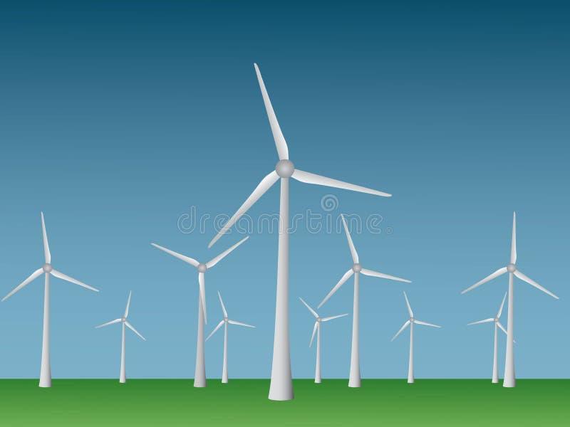 许多发从风在开放领域和天空的电的凉快的现代风车传染媒介可再造能源产业的 向量例证
