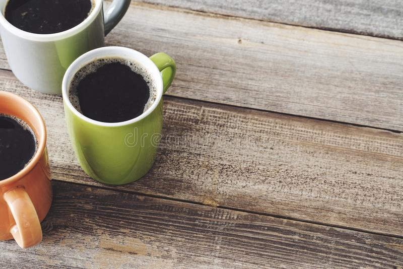 许多咖啡顶视图 免版税图库摄影