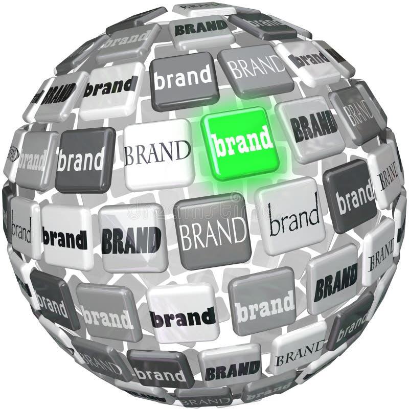 许多品牌一个Unqiue最佳的品牌球形上面选择 库存例证