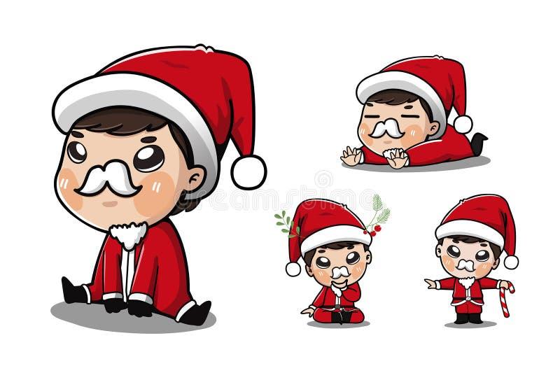 许多圣诞老人的男孩逗人喜爱的行动和的情感 库存例证
