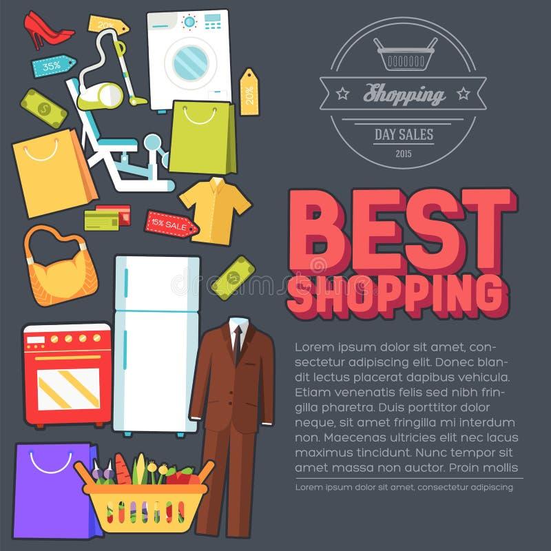 许多在商店反对购买 购物的抽象背景概念 在与标签设计的平的贴纸样式象 库存例证